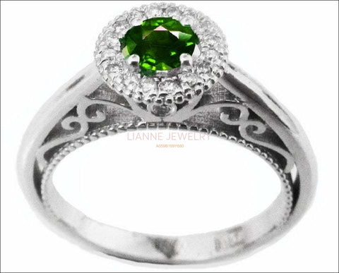 Gold ring Emerald Ring Halo Engagement Ring 18K Gold with D-E VVS Diamonds - Lianne Jewelry