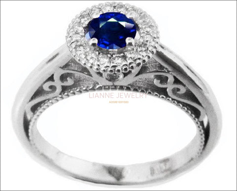 Gold ring Sapphire Ring Halo Engagement Ring 18K Gold with D-E VVS Diamonds - Lianne Jewelry
