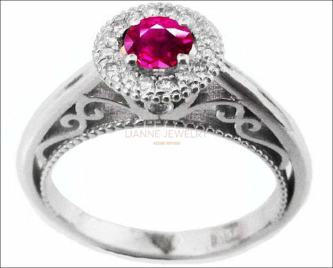 Gold Ring Pink Sapphire Ring Halo Engagement Ring Red color 18K Gold with D-E VVS Diamonds - Lianne Jewelry