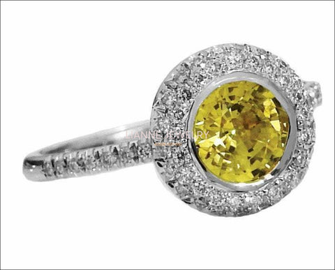 White Gold ring Halo Diamond Ring with 1 carat Intense Yellow Sapphire surrounded with 56 Diamonds - Lianne Jewelry