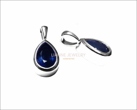 Sapphire Pendant Pear Solitaire Royal Blue Pendant Charm 14K White Gold - Lianne Jewelry