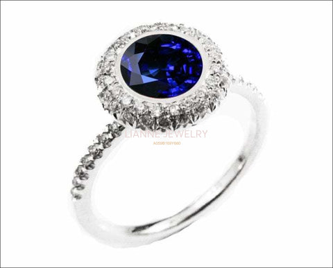 Sapphire ring Halo Diamond Ring with ONE carat Fine Sapphire surrounded with 56 Diamonds D-E-F VVS - Lianne Jewelry