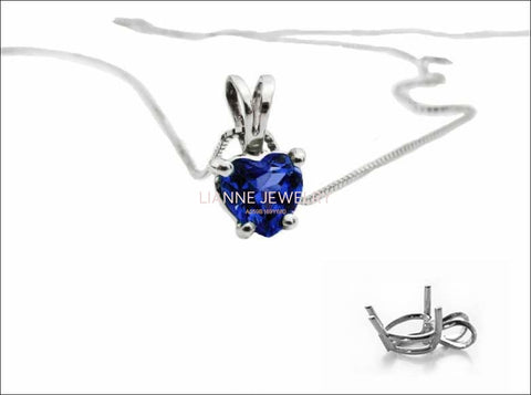 "Celtic Pendant  Sapphire Heart Pendant in 14K White gold including 16.5"" chain - Lianne Jewelry"