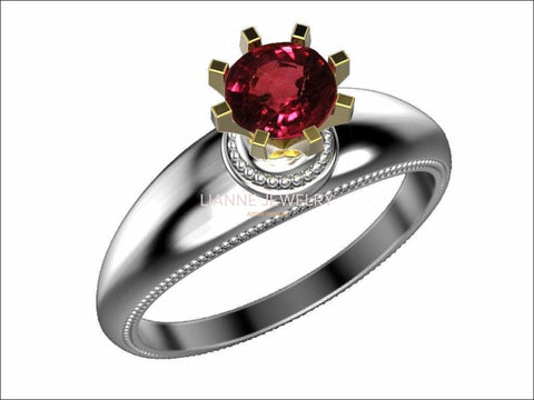 2-Tone Solitaire Ruby Engagement ring, 18K Gold, 8 prongs Ring - Lianne Jewelry