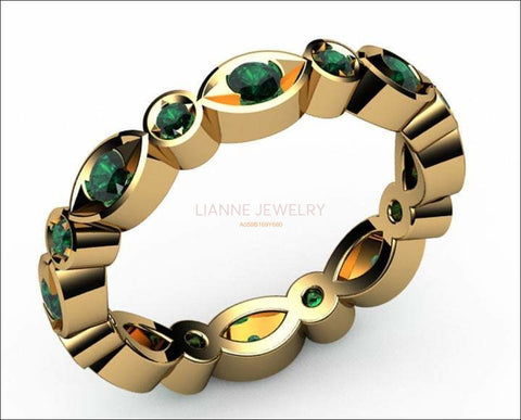 Gold ring Emerald Eternity Ring Anniversary Ring 18K Gold Emerald Ring Anniversary ring Contour ring - Lianne Jewelry