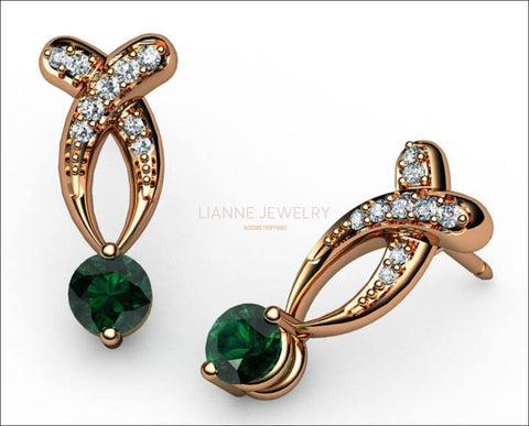 Twisted Earrings Emerald Studs, Bypass Diamond Earrings 14K Gold - Lianne Jewelry