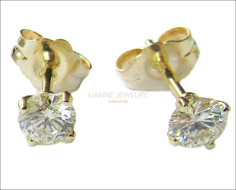Gold Earrings Stud Earrings bridesmaid Gift 14K Yellow Gold Natural Diamonds H SI1 0.50 carat Round cut - Lianne Jewelry