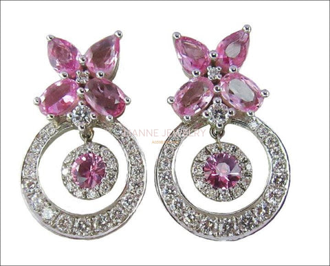 Vintage Pink Sapphire Dangle Drop Earrings 14K White Gold Sapphire Earrings Delicated Bohemian Jewelry Gift For Her. - Lianne Jewelry