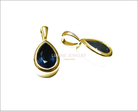 Pendant Sapphire Pendant Pear Pendant Solitaire Royal Blue Jewelry 14K White or Yellow gold September Birthstone - Lianne Jewelry