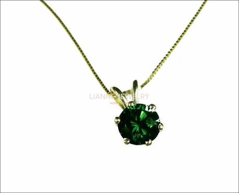 "Genuine Emerald Pendant Necklace Emerald Pendant 3mm 3.5mm 4 mm 4.5mm 5 mm in 14K gold including 16.5"" chain  Minimalist pendant - Lianne Jewelry"