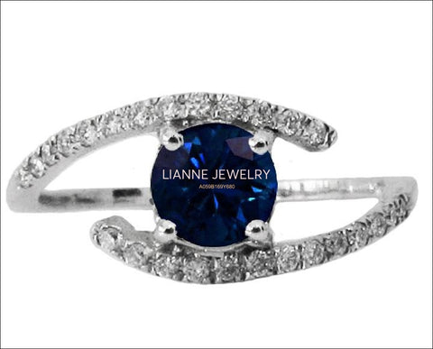 Sapphire Ring Sapphire Engagement Ring Sapphire and Diamond ring Twist Ring Edwardian Ring 14K White Gold - Lianne Jewelry