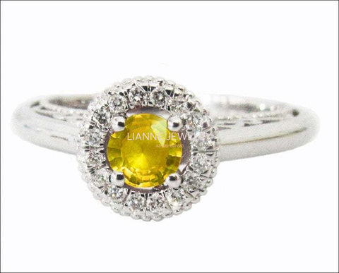 Vintage Gold ring Yellow Sapphire Ring Halo Engagement Ring 18K Gold with D-E VVS Diamonds - Lianne Jewelry
