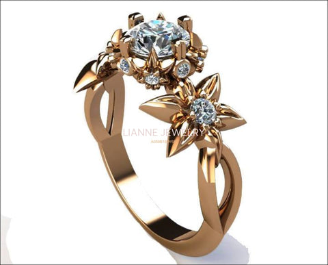 Filigree leaf Engagement ring Gold ring Solid Gold Art Nouveau unique ring Moissanite ring Flower design in Rose gold - Lianne Jewelry