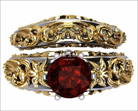 Gold ring Art Nouveau unique Bridal set Two Tone gold Flower Asian Ruby Ring Braided Engraving Trellis Asian Ruby matching wedding band - Lianne Jewelry