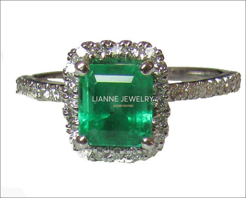 Vintage Emerald Engagement Ring 14K White Gold Halo Princess Diana Ring Vintage Style Unique Engagement Ring - Lianne Jewelry