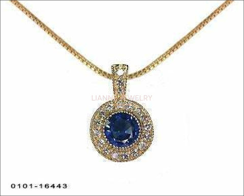 Pendant Sapphire Pendant Necklace 14K Yellow or White gold Round Halo Pendant Top quality Sapphire and Diamonds - Lianne Jewelry