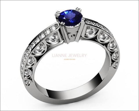 Unique Ring Engagement Ring Diamond Ring Blue Sapphire Bella channel-set pavé half moon trellis crafted in 18K White gold - Lianne Jewelry