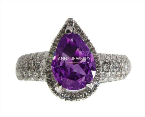 Gold ring Diamond ring Amethyst ring Pear shape Amethyst Pave Diamond Ring in 18K White gold - Lianne Jewelry