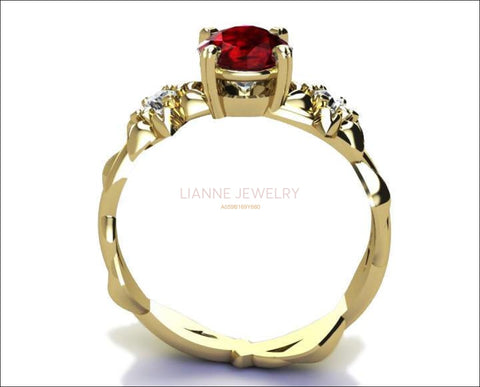 Filigree ring flower ring Asian Ruby Ring Art Nouveau unique Engagement ring Solid Gold Flower design in Yellow gold - Lianne Jewelry