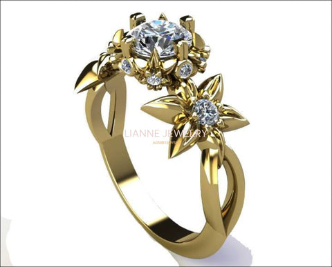 Leaves Engagement Ring Botanical Ring Moissanite Engagement Flower Ring Solid Gold Leaves Ring Art Nouveau unique Ring for Her - Lianne Jewelry