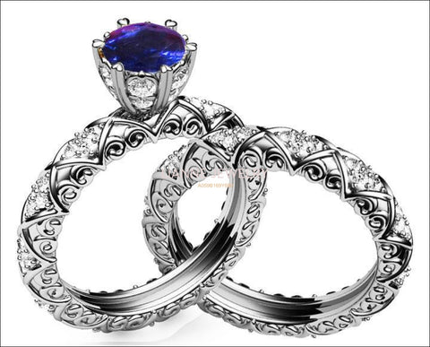 Wedding Gift Unique Bridal set Sapphire & Diamond Braided Pavé Engraving matching wedding band in 14K or 18K White gold marriage forever - Lianne Jewelry