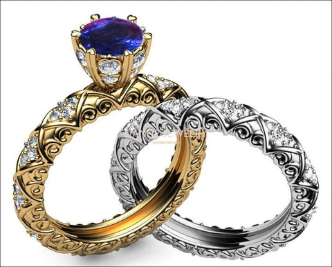 2 Tone Matching Unique Bridal set Wedding Band Ring Marriage Sapphire & Diamond Braided Pavé Engraving in 14K or 18K Yellow and White gold - Lianne Jewelry