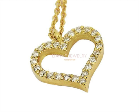 Gold Pendant Diamond Pendant Heart Pendant Love pendant 14K or 18K White Yellow or Rose gold  Minimalist pendant - Lianne Jewelry
