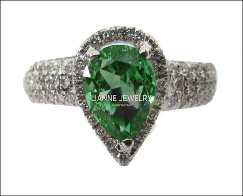 Vintage Gold ring Emerald ring Diamond ring Pear shape Emerald Pave Diamond Ring in 18K White gold - Lianne Jewelry