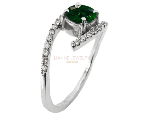 Solitaire Emerald Twist Ring, Curved Shank Unique Engagement Ring, Celtic Ring 14K White Gold - Lianne Jewelry