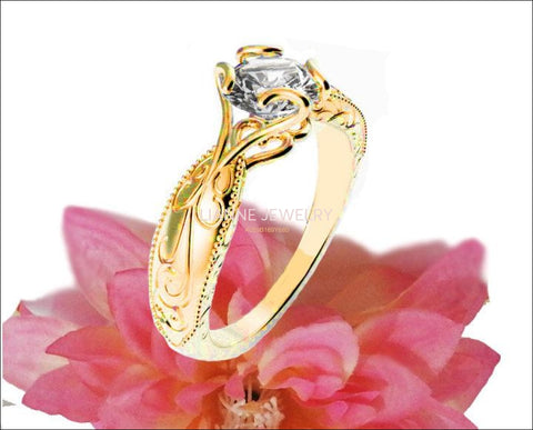 Gold ring Solitaire Ring Unique Claw Design Engraved Engagement Ring 14K or 18K Yellow Gold - Lianne Jewelry