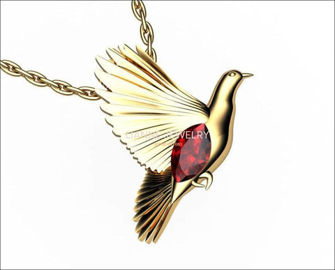 Bird Pendant, Gold Dove Pendant with Ruby Marquise, Wings Pendant, Peace Pendant, Anniversary Gift - Lianne Jewelry