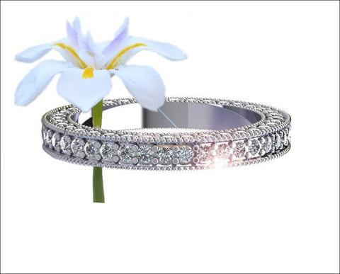 18K White gold Diamond Wedding Band, Eternity Ring, Wedding Gift 115 Diamonds E-F/VVS - Lianne Jewelry