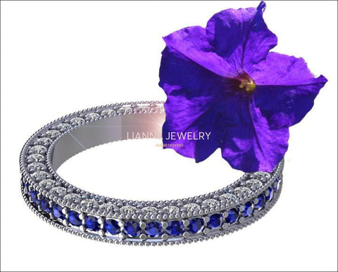 18K Sapphire & Diamond Exclusive Wedding Band 115 stones Eternity Ring anniversary ring Anniversary Gift - Lianne Jewelry