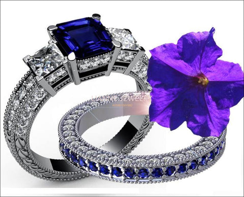 14K Gold Ring Set Bridal set Diamonds and Sapphires 3-stone Ring set 4.30 carat Diamonds Sapphire Princess cut Classic 3-stone Diamond Ring - Lianne Jewelry