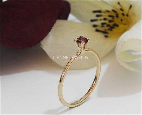 Genuine Ruby engagement ring rose gold Unique ruby ring Deep Red Ruby Promise Ring Dainty vintage ring 14k 18k  September stone - Lianne Jewelry