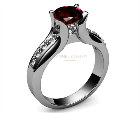 Ruby Ring,  Engagement, channel set in Silver or 14K White Gold Tension Ring - Lianne Jewelry