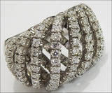 18K Unique Anniversary 7 Rows 129 Diamonds 1.61 carat Big Heavy Anniversary Ring 19.50 grams - Lianne Jewelry