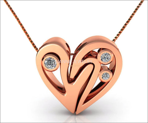 Rose Gold Diamond Heart Pendant, Heavy Pendant 14K Gold - Lianne Jewelry