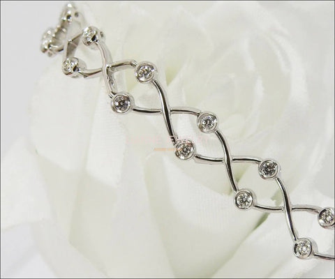"Diamond Bracelet Twist Infinity Bracelet Link Bracelet Diamond Bracelet 18K White gold  8.20 Grams  18 cm, 7.2"" inces - Lianne Jewelry"