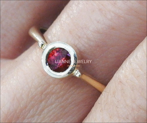Ruby Engagement Ring Solitaire Ring Minimalist Ring Bezel set in 14K Yellow gold July Birthstone - Lianne Jewelry