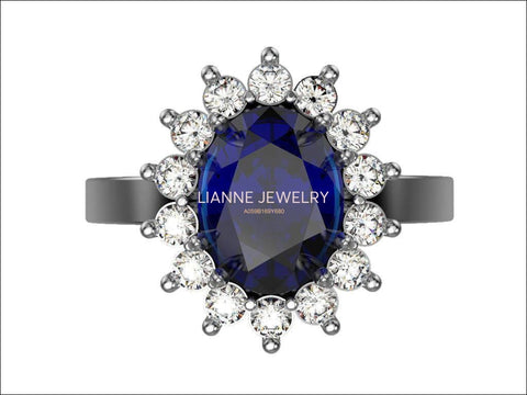 Engagement ring Diana ring Sapphire ring Victorian ring Princess Ring Blue Oval Blue Sapphire 14K-18K - Lianne Jewelry