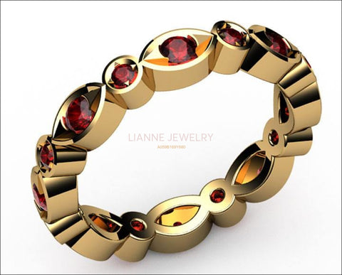 Ruby Anniversary Ring Bella Design Eternity Ring with 16 stones in 18K Yellow or White gold - Lianne Jewelry
