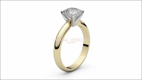 2 Tone Solitaire Engagement Ring with 1 carat Princess cut Square cut Minimalist Diamond Ring made in 14K or 18K white and Yellow gold - Lianne Jewelry