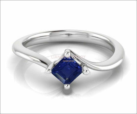 Solitaire Ring Blue Ring Engagement Ring Square cut Princess cut Sapphire Minimalist Sapphire Ring made in 14K 18K White gold Birthday Gift - Lianne Jewelry