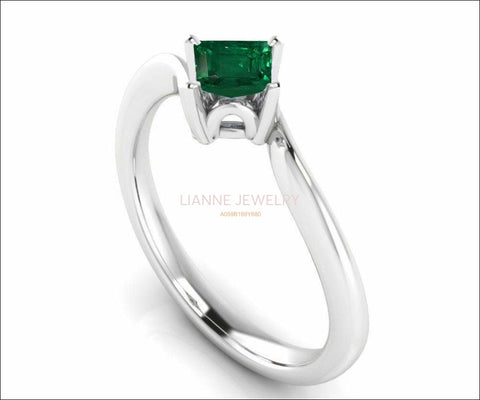 14K Square Emerald Solitaire Engagement Ring, Twist Solitaire Ring, Filigree Green Engagement Ring - Lianne Jewelry