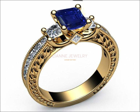 Vintage Sapphire Gold Unique Sapphire Diamond Engagement ring 3-stone Ring channel trellis Engraved 18K White Yellow or Rose gold Jewelry - Lianne Jewelry