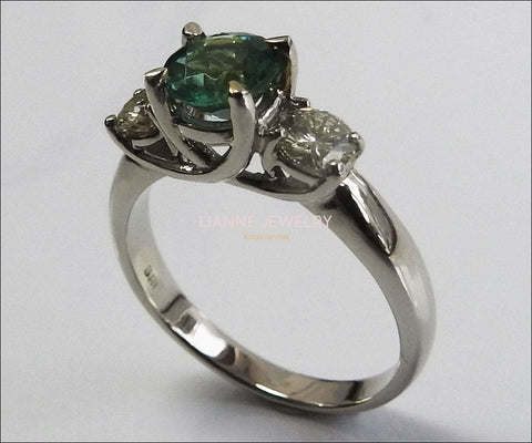 Vintage 3 stone Ring Emerald Ring Diamond Ring Gold ring Engagement Ring  Art deco Ring Promise Ring, Blueish Green - Lianne Jewelry