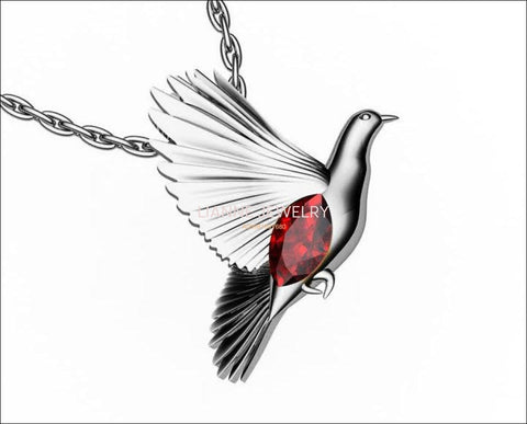 Pendant Jewelry Bird Pendant Dove Pendant White gold Peace Animal Wings Red Pendant Ruby Marquise Gemstone Pendants Celtic pendant 14K gold - Lianne Jewelry