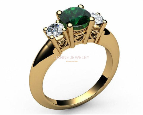 14K Gold Emerald 3 stone Ring, Unique Engagement Ring, Heart Filigree, Promise Ring, Love Ring for Your Love One - Lianne Jewelry