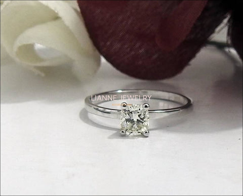 Diamond ring  Gold ring Engagement ring Solitaire Ring Diamond Ring in 14K White Gold - Lianne Jewelry